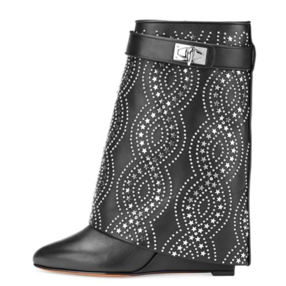 6e6d0edbe445 New Givenchy Shark Lock Boots Black Studded 38.5